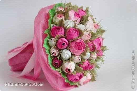 Мастер класс розы из гофрированной бумаги и конфет