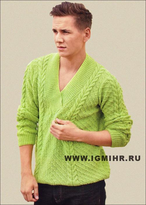 Мужской пуловер салатового цвета, с косами. Спицы