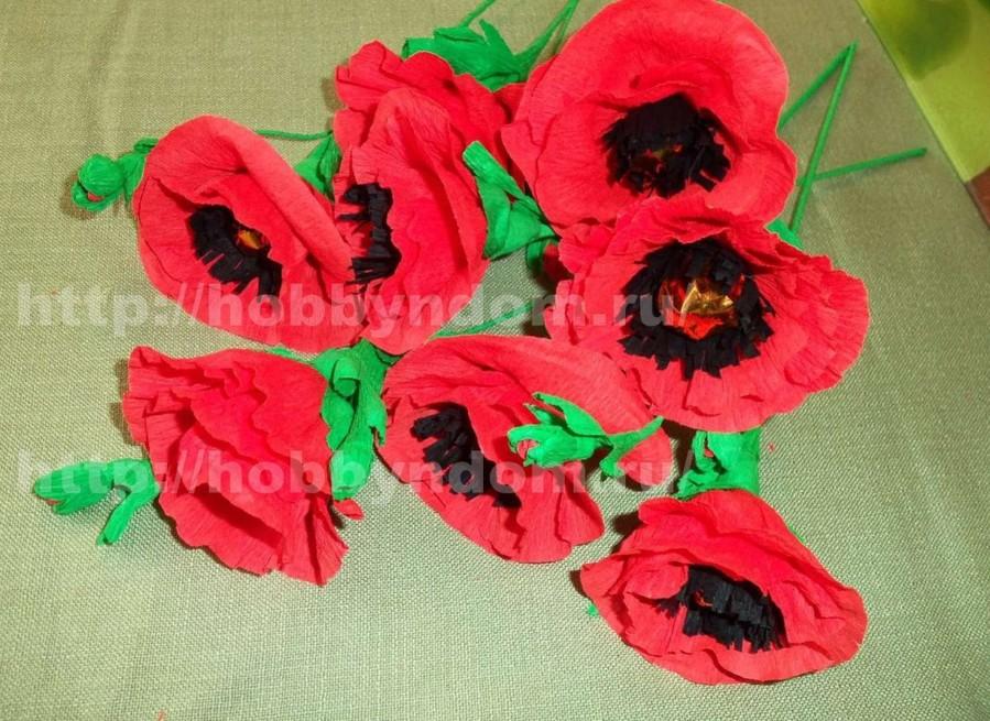 Цветы з гофрированной бумаги своими руками