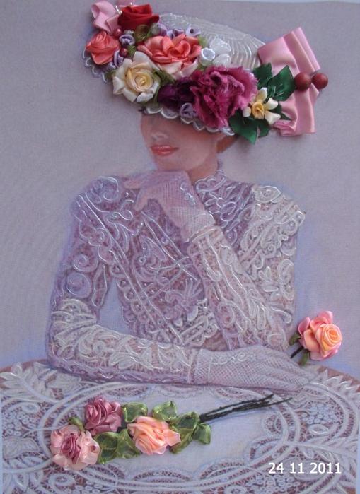 лиру Татьяна вышивка лентами26 (509x699, 411Kb)
