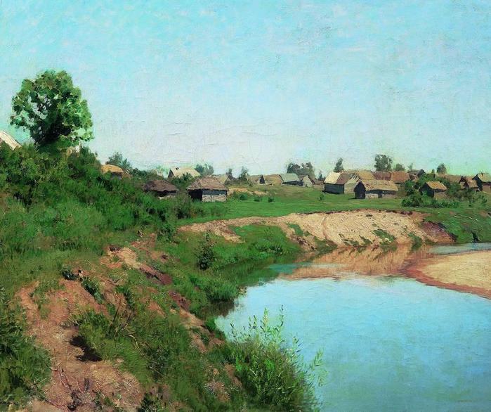 Деревня на берегу реки. 1883 (700x586, 72Kb)