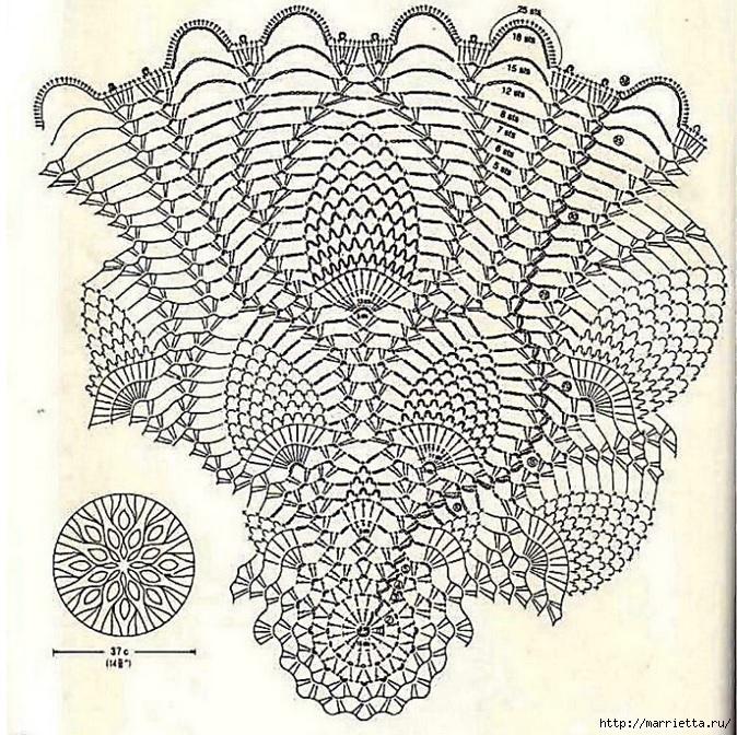 вязание крючком. салфетки (4) (674x672, 446Kb)