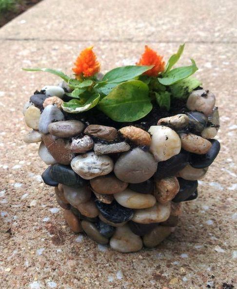 Цветочный горшок из морской гальки