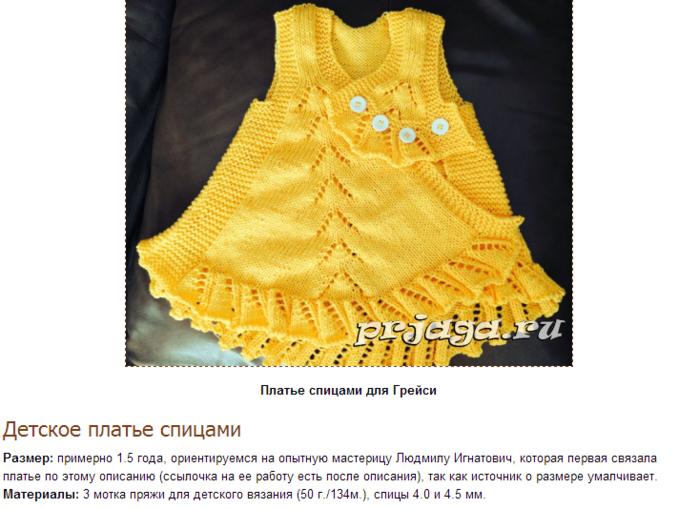 Вязание сарафанов для девочек до года спицами с описанием