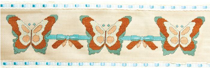Вышивка крестом. БАБОЧКИ на полотенце (2) (700x227, 296Kb)