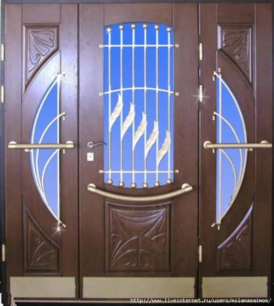 железный двер из стеклом