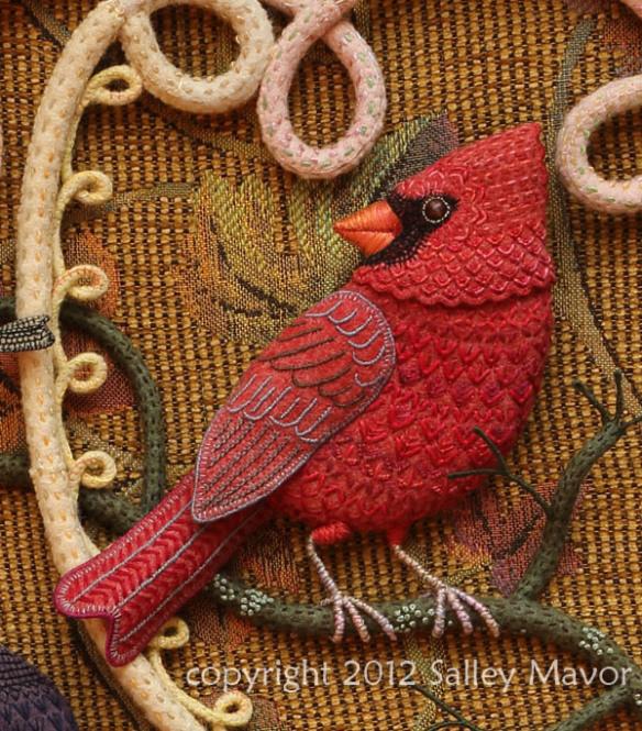 Aves del paraíso de fieltro con bordado (3) (584x665, 520KB)