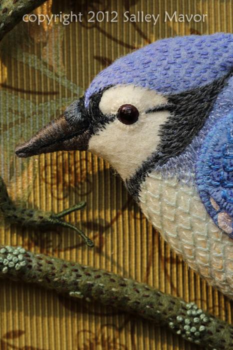Райские птицы из войлока с вышивкой (11) (466x700, 410Kb)