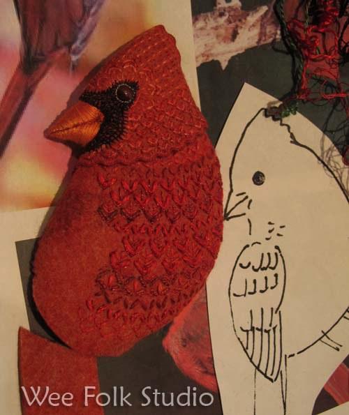 Райские птицы из войлока с вышивкой (15) (500x595, 238Kb)