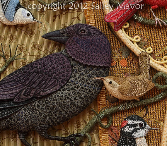 Райские птицы из войлока с вышивкой (20) (570x499, 401Kb)