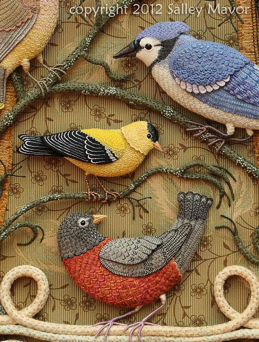 Aves del paraíso de fieltro con bordados (21) (531x700, 586KB)