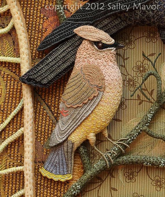 Райские птицы из войлока с вышивкой (23) (570x679, 553Kb)