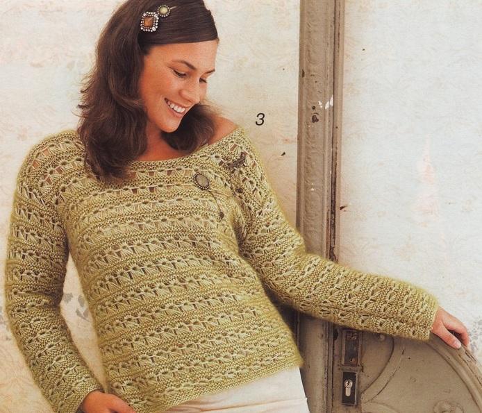 ажурный пуловер с длинными петлями (1) (694x595, 443Kb)