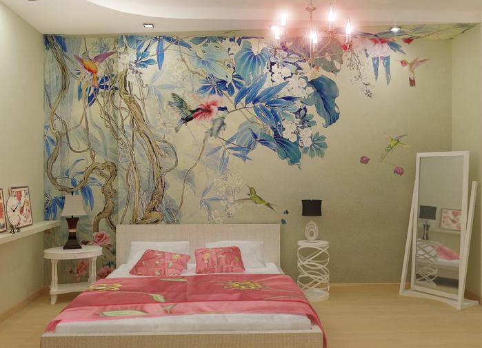 Роспись стен фото в спальне
