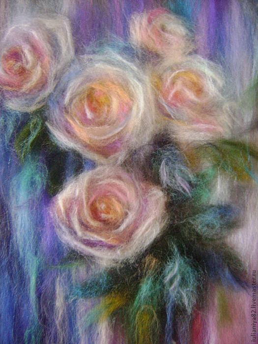 живопись шерстью картины цветы (3) (525x700, 465Kb)