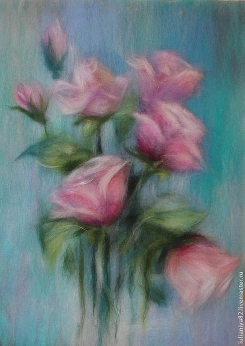 живопись шерстью картины цветы (5) (494x700, 310Kb)