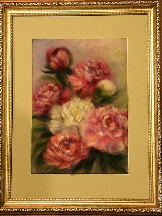 живопись шерстью картины цветы (7) (525x700, 420Kb)