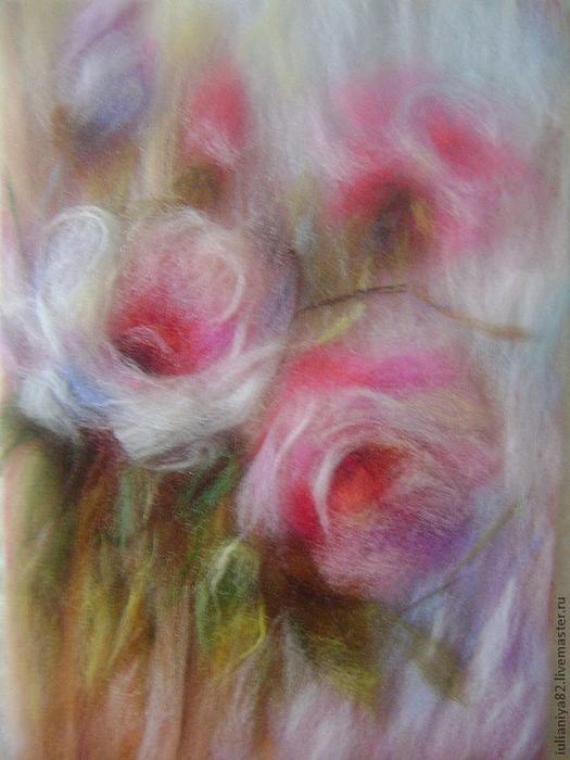 живопись шерстью картины цветы (9) (525x700, 397Kb)