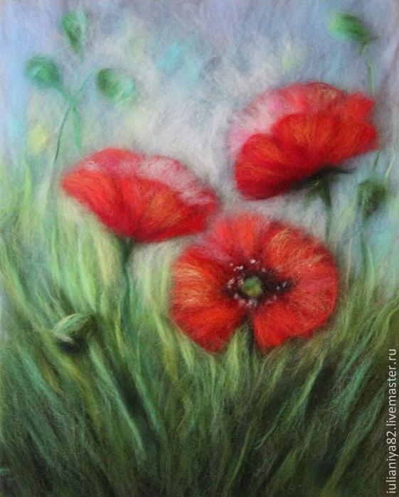 живопись шерстью картины цветы (11) (561x700, 374Kb)