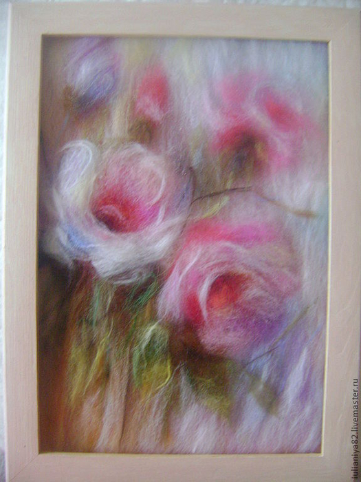 живопись шерстью картины цветы (15) (525x700, 381Kb)