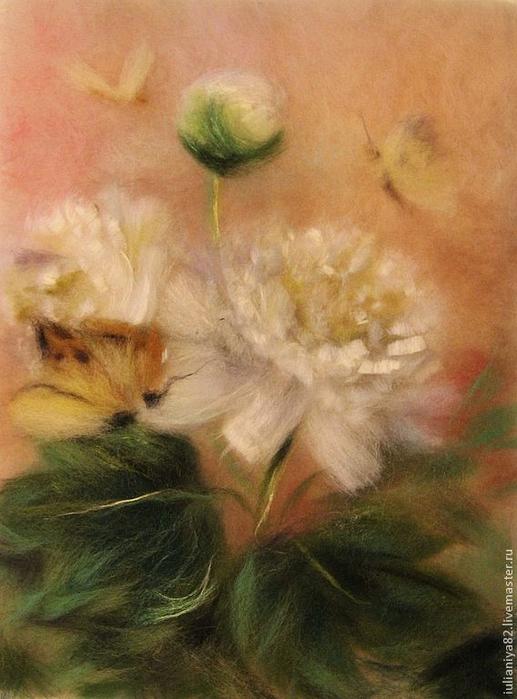 живопись шерстью картины цветы (17) (517x700, 341Kb)