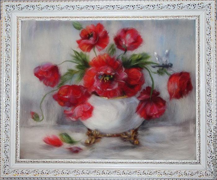 живопись шерстью картины цветы (19) (700x581, 463Kb)