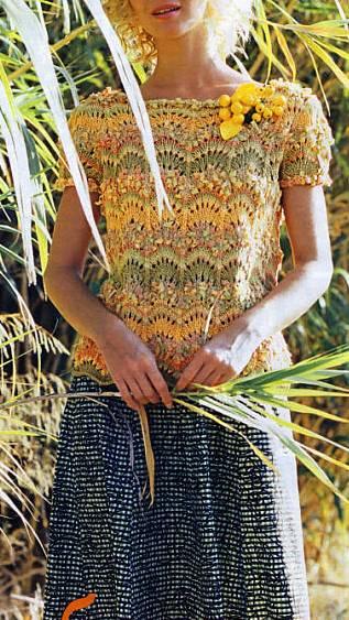 Летний пуловер из фасонной пряжи (1) (317x563, 280Kb)