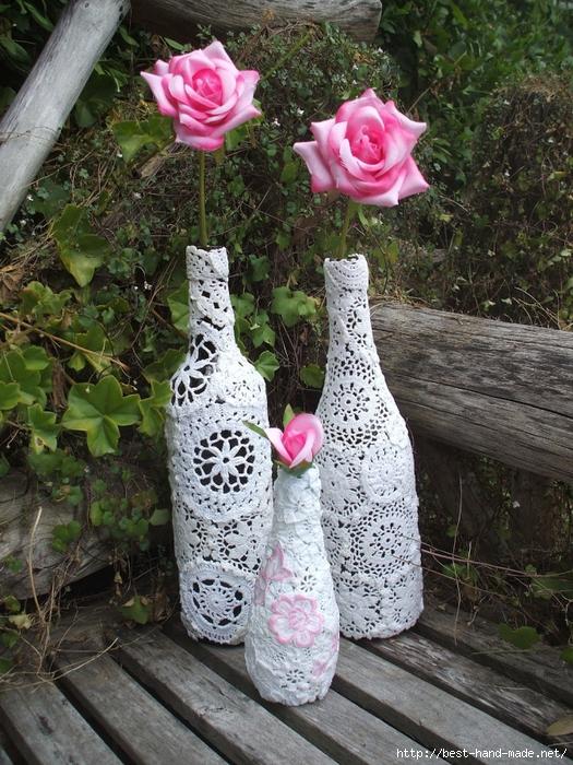 Украсить вазу своими руками кружевом