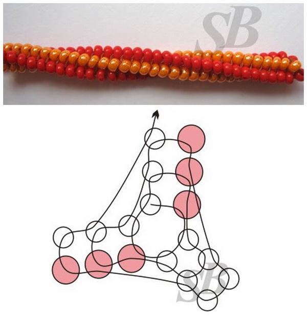 Схемы плетения шнур из бисера