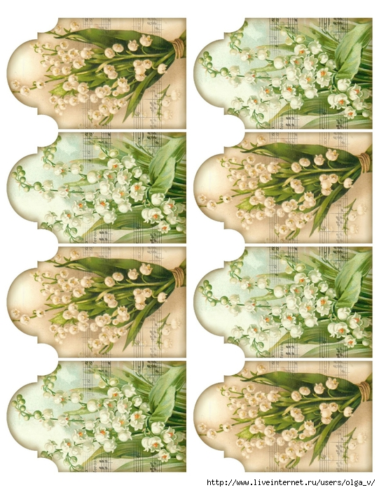 Lily of the Valley ~ 8 tags 2.5 x 4 printable ~ lilac-n-lavender (541x700, 348Kb)