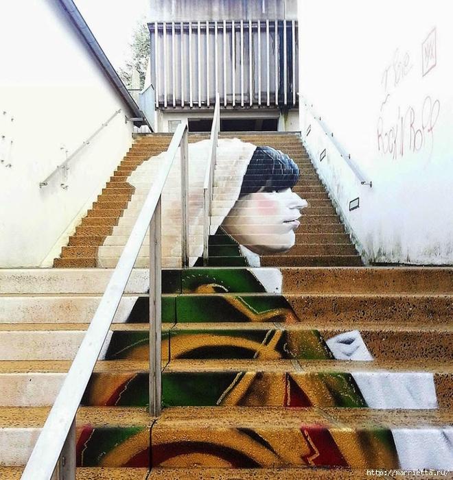 Граффити и Street Art. Самые красивые лестницы и ограды (17) (660x700, 378Kb)