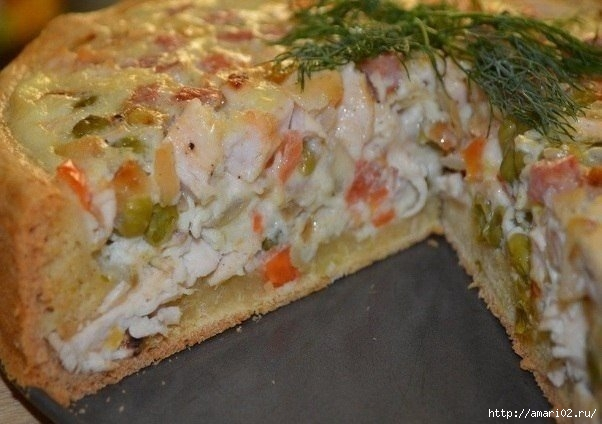 Мясной пирог с овощами