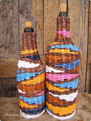 Оплетаем бутылку газетными трубочками. Мастер-класс (1) (360x480, 231Kb)