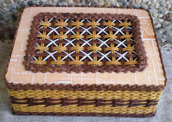 Газетное плетение крышка для шкатулки