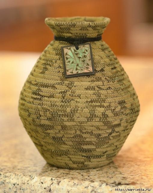 Корзинки, вазочки и коврик из лоскутков и бельевой веревки (5) (509x643, 193Kb)