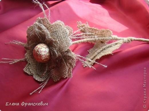 Поделки из мешковины от Елены Франскевич. Конфетный цветочек (4) (520x390, 176Kb)