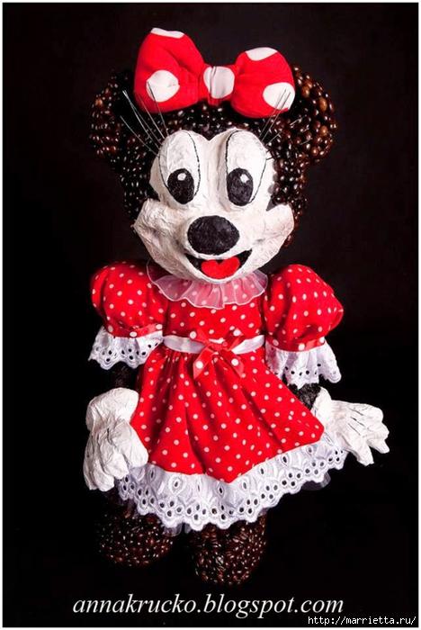 Minnie Mouse hecha de papel maché y granos de café.  Clase magistral (5) (468x700, 215KB)