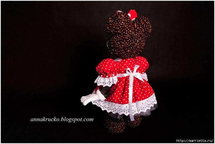Minnie Mouse hecha de papel maché y granos de café.  Master Class (7) (700x468, 186Kb)