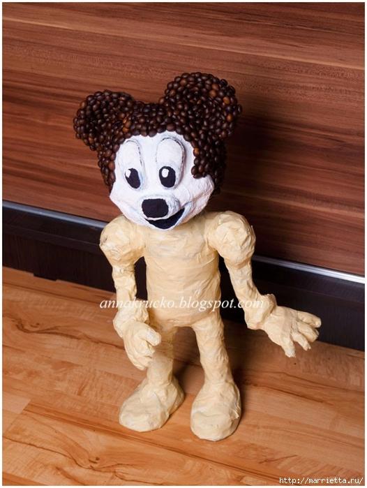 Minnie Mouse hecha de papel maché y granos de café.  Clase magistral (18) (526x700, 262Kb)