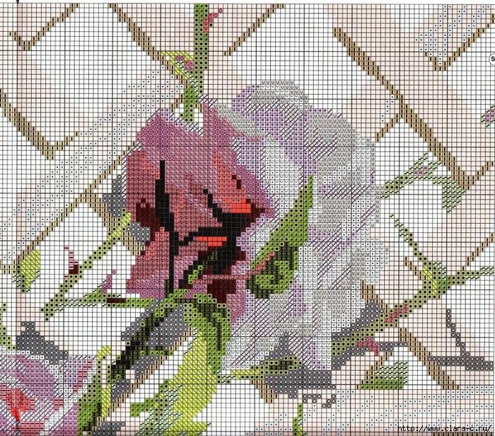 Stitchart-roza-na-reshetke2 (700x616, 573Kb)