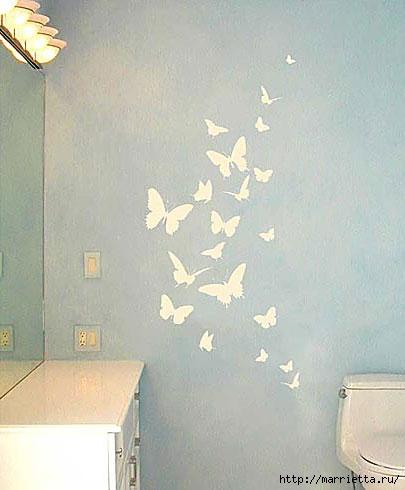 Порхающие бабочки в интерьере. Трафареты для стен и потолка (9) (405x490, 89Kb)