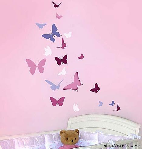 Порхающие бабочки в интерьере. Трафареты для стен и потолка (11) (468x490, 66Kb)