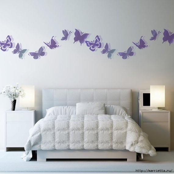 Порхающие бабочки в интерьере. Трафареты для стен и потолка (16) (570x570, 124Kb)