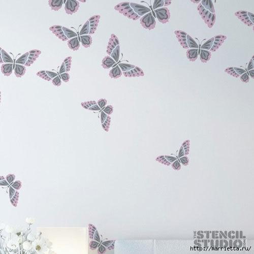 Порхающие бабочки в интерьере. Трафареты для стен и потолка (18) (500x500, 70Kb)