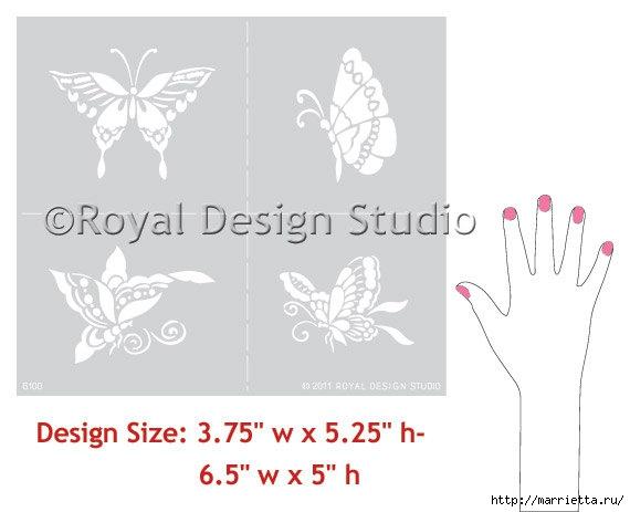 Порхающие бабочки в интерьере. Трафареты для стен и потолка (27) (570x463, 71Kb)