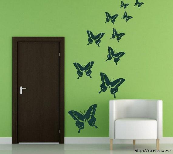 Порхающие бабочки в интерьере. Трафареты для стен и потолка (29) (570x509, 97Kb)