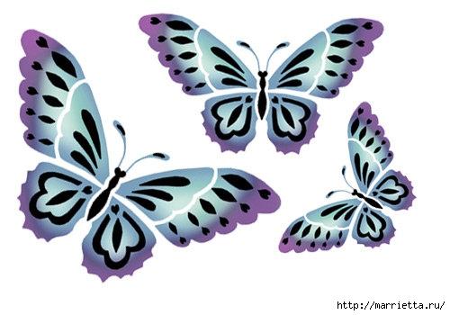 Порхающие бабочки в интерьере. Трафареты для стен и потолка (35) (500x350, 96Kb)