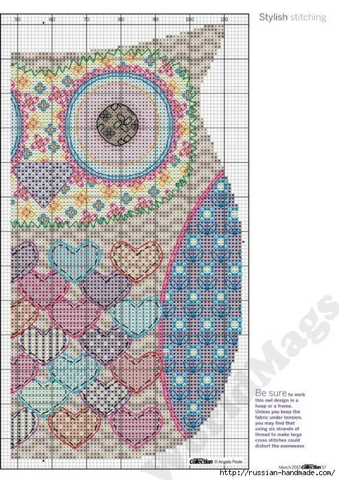 Схемы вышивки крестом. СОВЫ (16) (494x700, 346Kb)