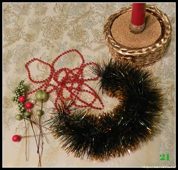 Tejiendo periódicos.  Sostenedor de vela de Navidad (23) (624x598, 284Kb)