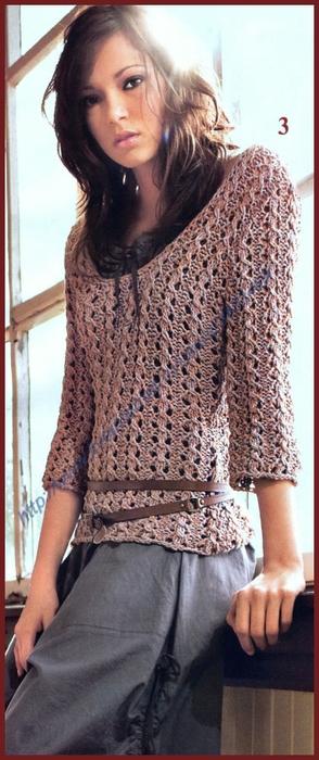 Пуловер из лентовидной пряжи (294x700, 184Kb)